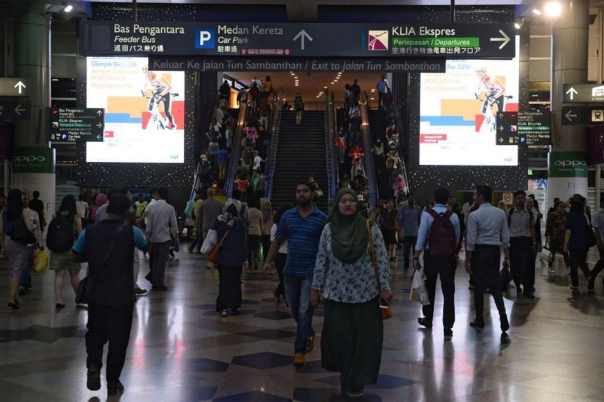 Commuters at KL Sentral railway station in Kuala Lumpur, Malaysia one of the terminals for the high-speed rail.