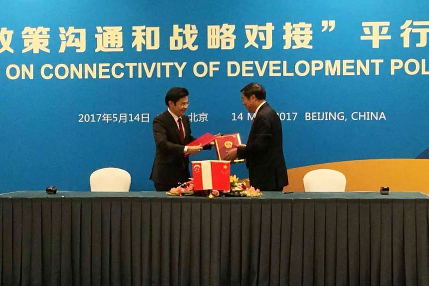 Singapore's National Development Minister Lawrence Wong represented the Singapore in signing a memorandum of understanding (MOU) on the Belt and Road Initiative with the China on May 14, 2017.