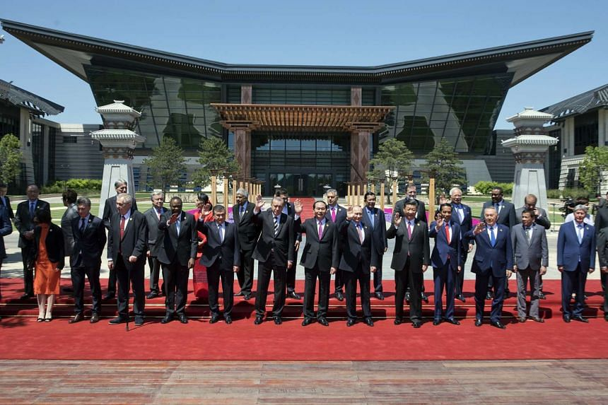 World leaders attending the Belt and Road Forum  pose for a group photo at the International Conference Center in Yanqi Lake, north of Beijing, China, on May 15.