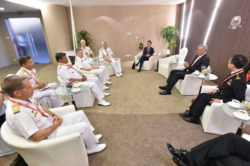The Naval Chiefs of the FPDA member-nations jointly calling on Minister for Defence Dr Ng Eng Hen at the Changi Exhibition Centre.