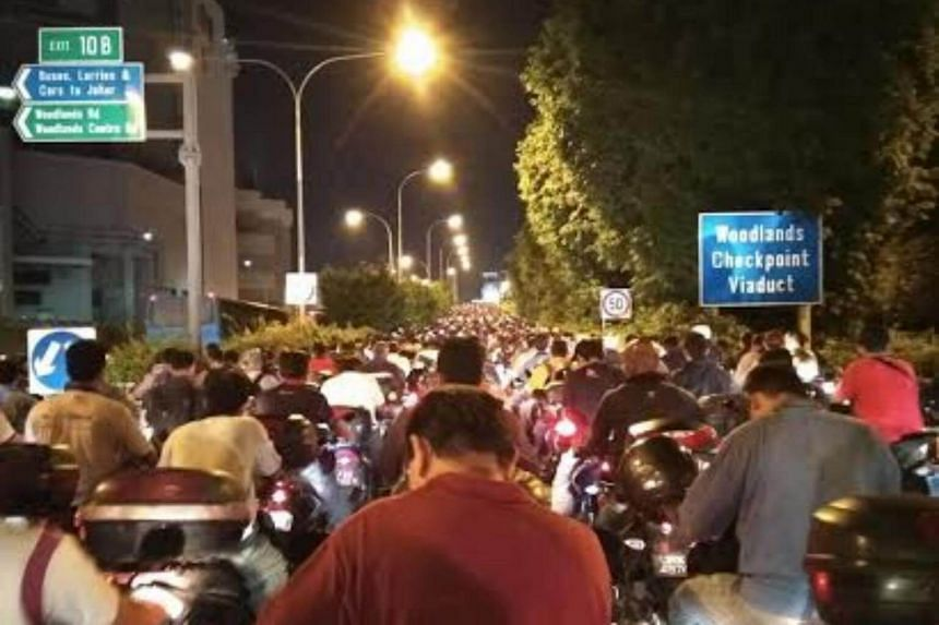 A photo taken at Woodlands Checkpoint at 7.40pm. Mr Al Furqan, a 29-year-old property executive, said it took him three hours to get to Johor Baru, twice the time he usually takes.