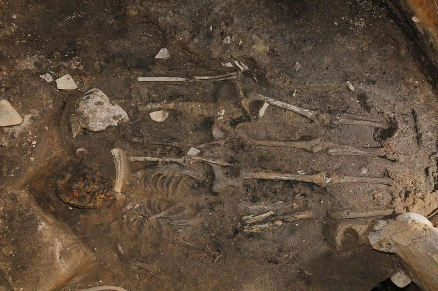 Two skeletons at the site of Wolseong, or Moon Castle, in Gyeongju, on South Korea's southeast coast, on May 16, 2017.