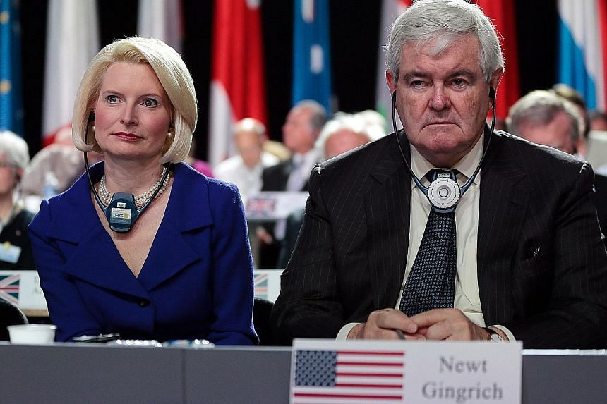 The decision to nominate Mrs Callista Gingrich, seen here with husband Newt Gingrich in 2013, as the next US envoy to the Holy See is reportedly pending approval from the Office of Government Ethics.