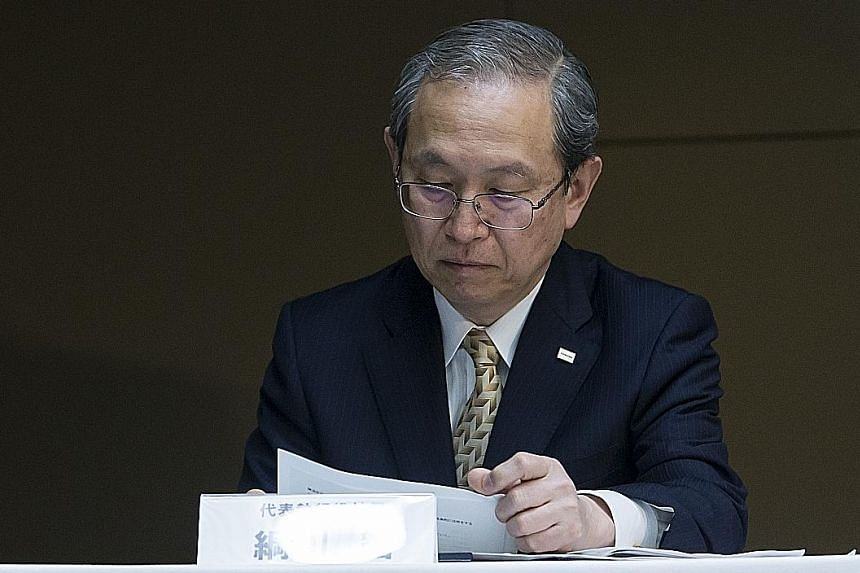 Chairman Satoshi Tsunakawa told reporters yesterday Toshiba's results are still being audited.