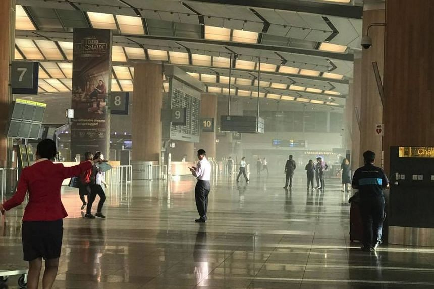 A fire broke out in Changi Airport Terminal 2 on May 16, 2017.