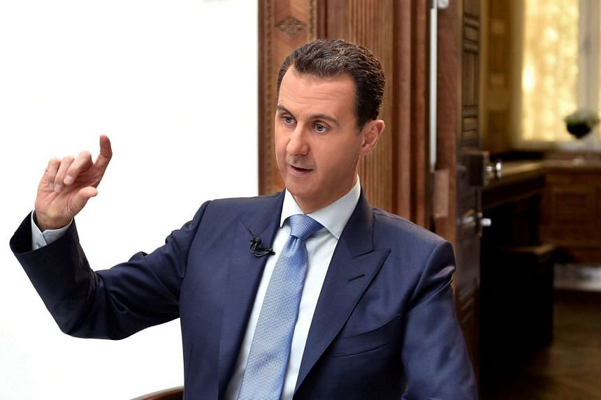 Syria's President Bashar al-Assad speaks during an interview in Damascus in a handout picture provided on April 6, 2017.