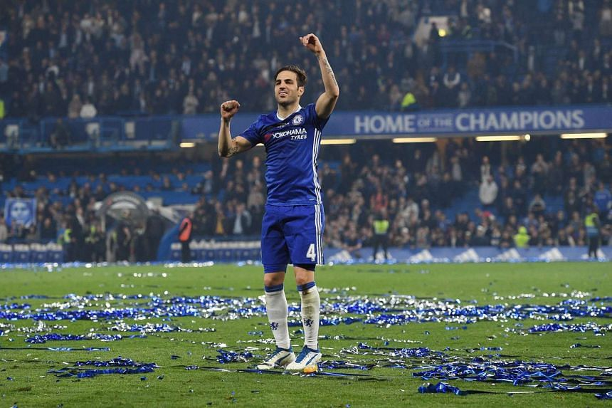 Chelsea Cesc Fabregas celebrates after the game against Watford on May 15, 2017