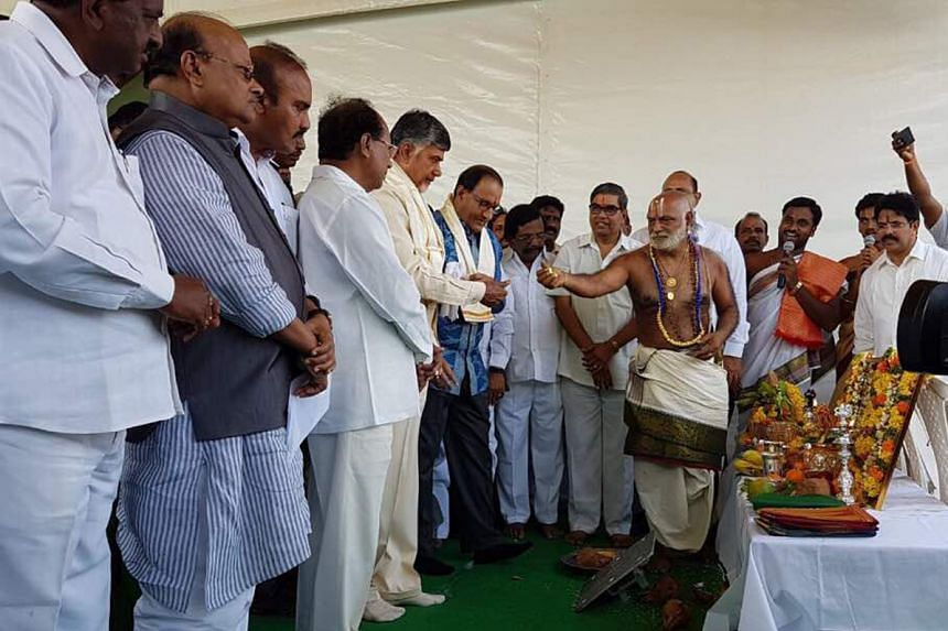Mr S. Iswaran (centre) and Andhra Pradesh Chief Minister Chandrababu Naidu (on his right) at a ceremony yesterday to lay the foundation stone for the start-up area in Amaravati, which will be developed in phases.
