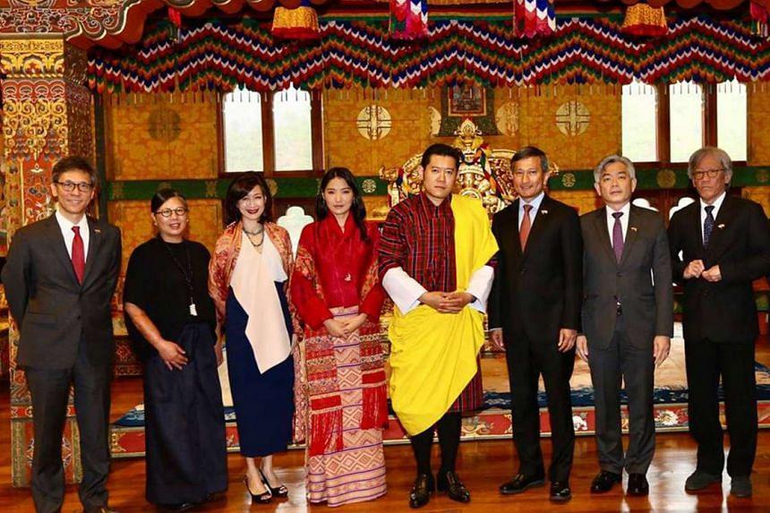 Foreign Minister Vivian Balakrishnan, with Bhutan's King Jigme Khesar Namgyel Wangchuck and Queen Jetsun Pema.