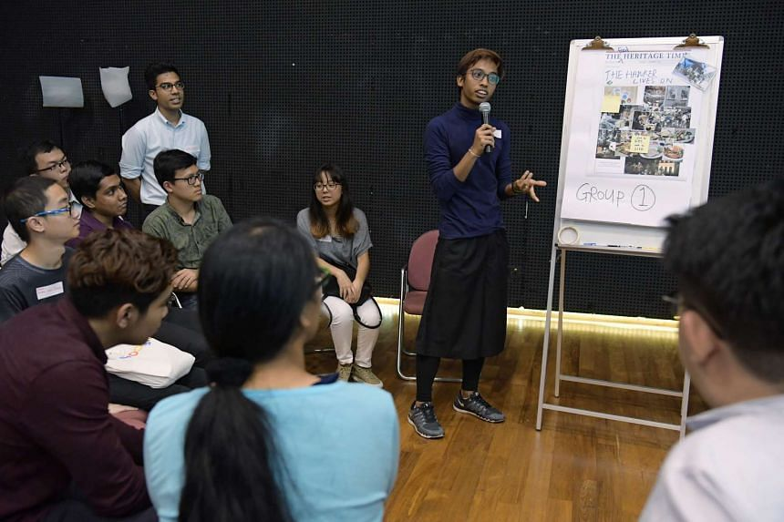 NAFA student Ahmad Hafiz, 24, and other youths at the first engagement session for the Heritage Plan held at the Malay Heritage Centre on May 17, 2017.