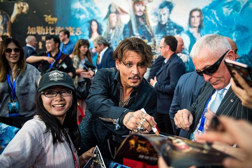 Actor Johnny Depp attended the world premiere of Disney movie Pirates Of The Caribbean: Dead Men Tell No Tales in Shanghai.