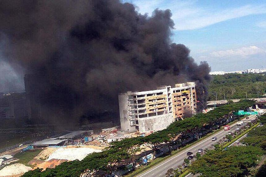 Residents in the nearby Housing Board blocks along Punggol Field Walk noticed thick smoke billowing from the site at about 4.30pm yesterday. SCDF said in a Facebook post late last night that the fire had involved contents on the site and damaged an a