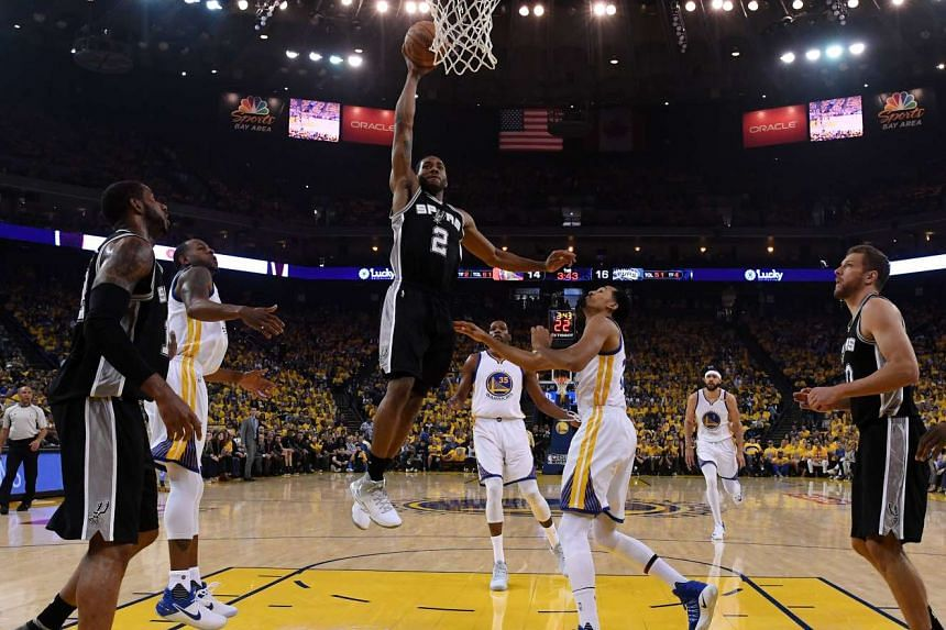 San Antonio Spurs and Golden State Warriors during the NBA Western Conference Finals, Game One at Oracle Arena in Oakland, California on May 14.