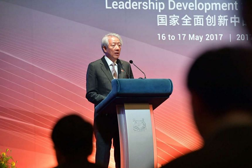 Deputy Prime Minister Teo Chee Hean speaking at the Singapore-China Forum on Leadership at Shangri-La hotel on Tuesday (May 16).