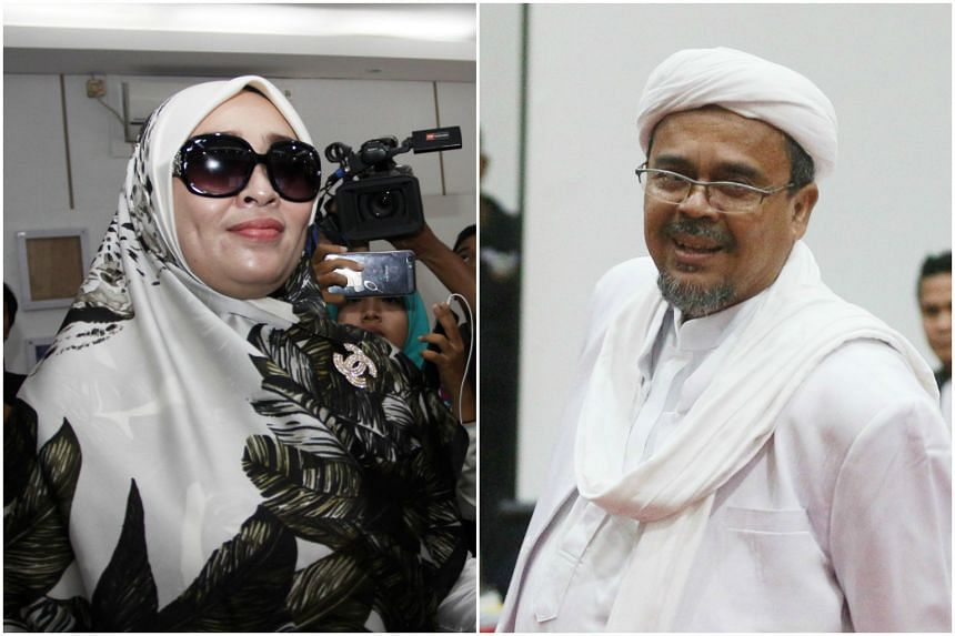 Indonesian police have said that activist Firza Husein (left) was the naked woman who appeared in sex chats allegedly involving FPI leader Rizieq Shihab (right).