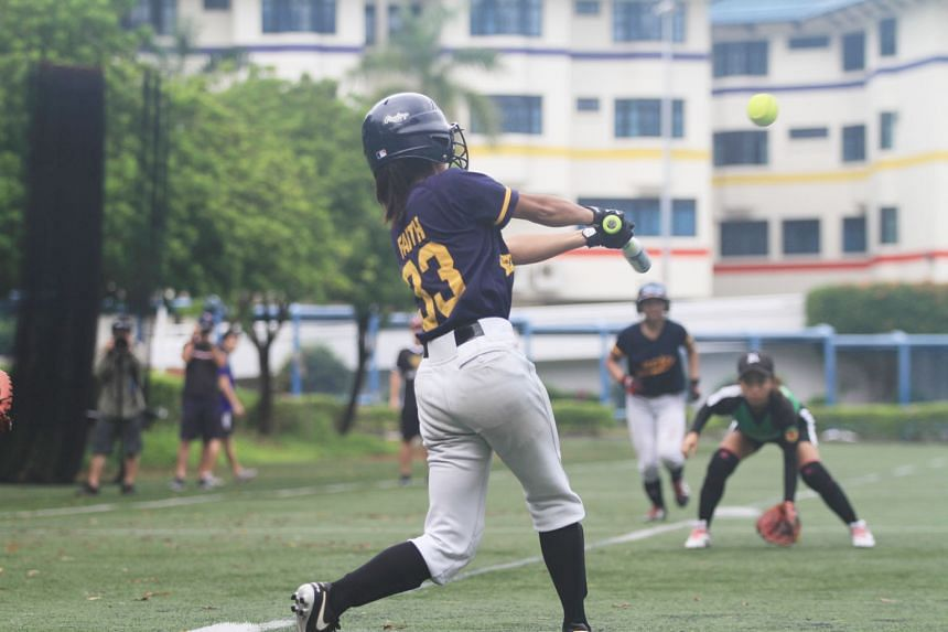 Shortstop Faith Gan hit her first home run of the season yesterday to clinch the A Division softball girls' title for Anglo-Chinese Junior College, defeating Raffles Institution 5-0.