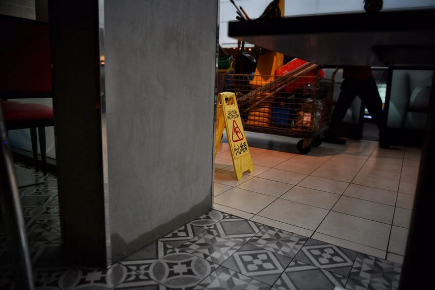 Cleanup underway in the early morning at Changi Airport Terminal 2 on Tuesday (May 17).
