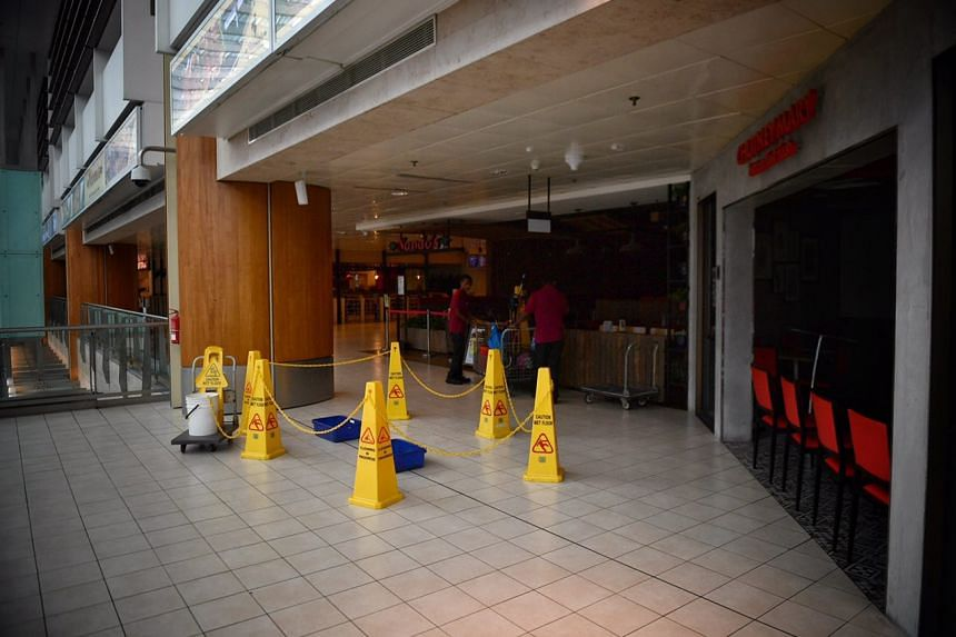 A section outside Nando's and Chutney Mary in Terminal 2 cordoned off due to water leakage.