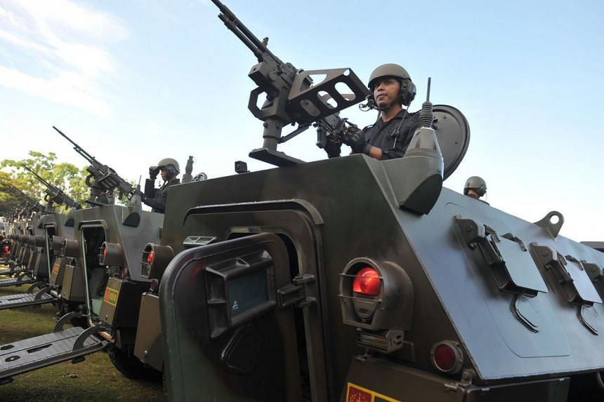Soldiers during a military exercise in Nusa Dua, Bali.