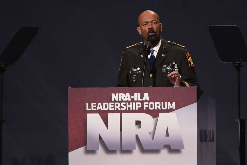 David Clarke, sheriff of Milwaukee County, Wisconsin, speaks at the NRA-ILA's Leadership Forum at the 146th NRA Annual Meetings & Exhibits on April 28, 2017 in Atlanta, Georgia.