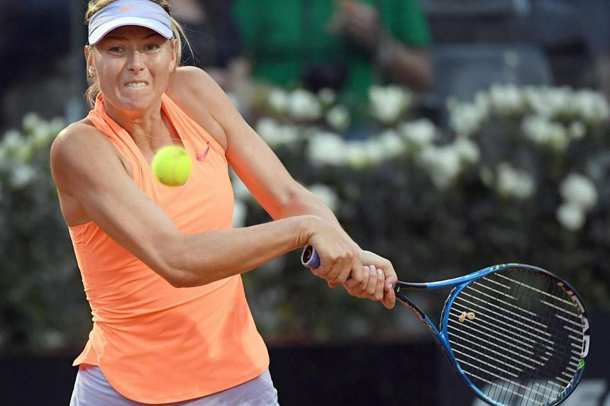 Russian Maria Sharapova at the second round match for the Italian Open tennis tournament at the Foro Italico in Rome, Italy, on May 16, 2017.
