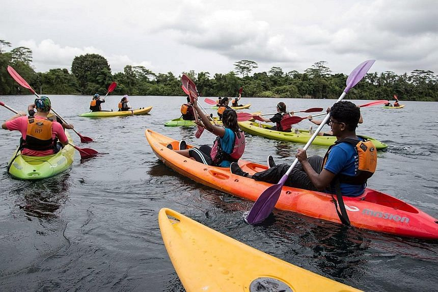 Participants kayaking at Ubin Quarry during last year's festival.