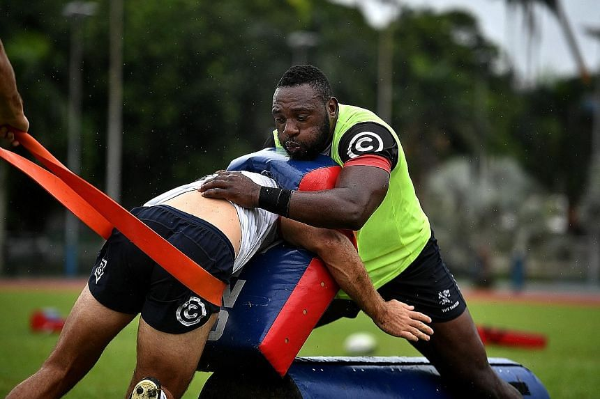 Tendai Mtawarira at a training session yesterday, in preparation for the Super Rugby match pitting the Sharks against the Sunwolves tomorrow.