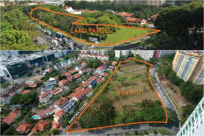 (Top) The 1.34 ha parcel at Lorong 1 Realty Park is for about 50 conventional or strata-titled landed homes. (Bottom) The land parcel at Stirling Road in Queenstown was triggered for sale after a developer committed to bid at no less than S$685.25 mi