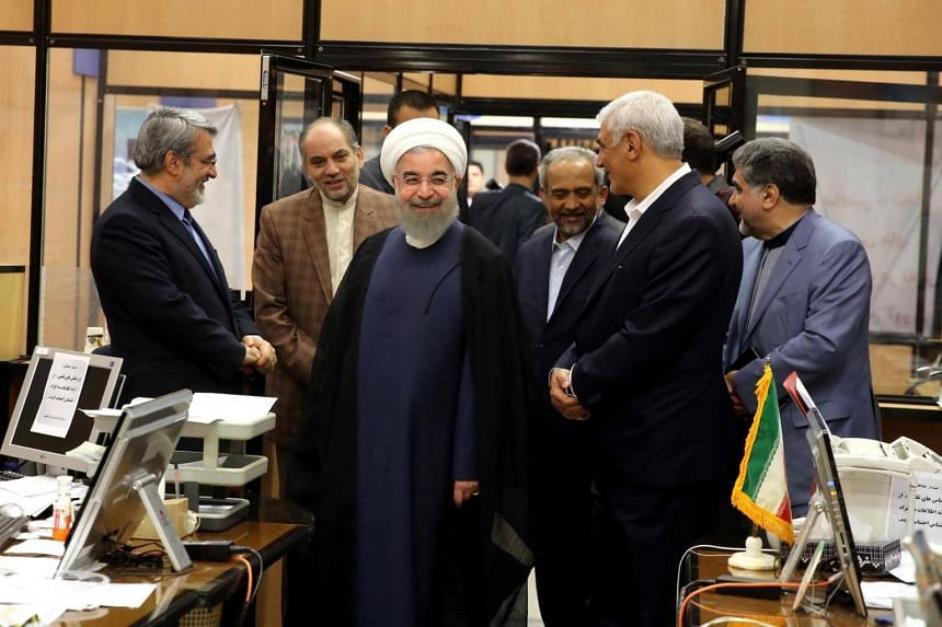 Iran's President Hassan Rouhani visits the election office in Tehran, Iran, on May 19, 2017.