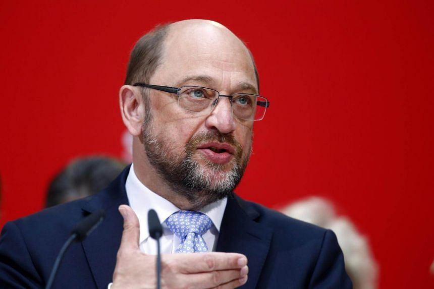 Social Democratic Party (SPD) leader Martin Schulz addresses a news conference in Berlin, Germany, on May 15, 2017.