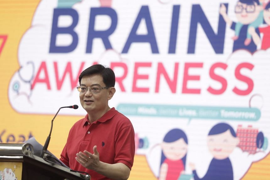 Finance Minister Heng Swee Keat speaking at the National Neuroscience Institute Brain Awareness Carnival at Our Tampines Hub on May 20, 2017.