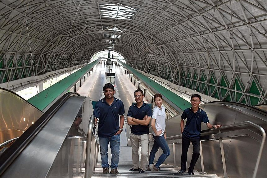 From left: The Land Transport Authority's executive project engineer Rahul Revu, senior principal architect Hamdi Rizal, senior project engineer Foo Feng Ling and deputy project manager for rail services Koh Kia Jun at Tuas Link station, the last sto
