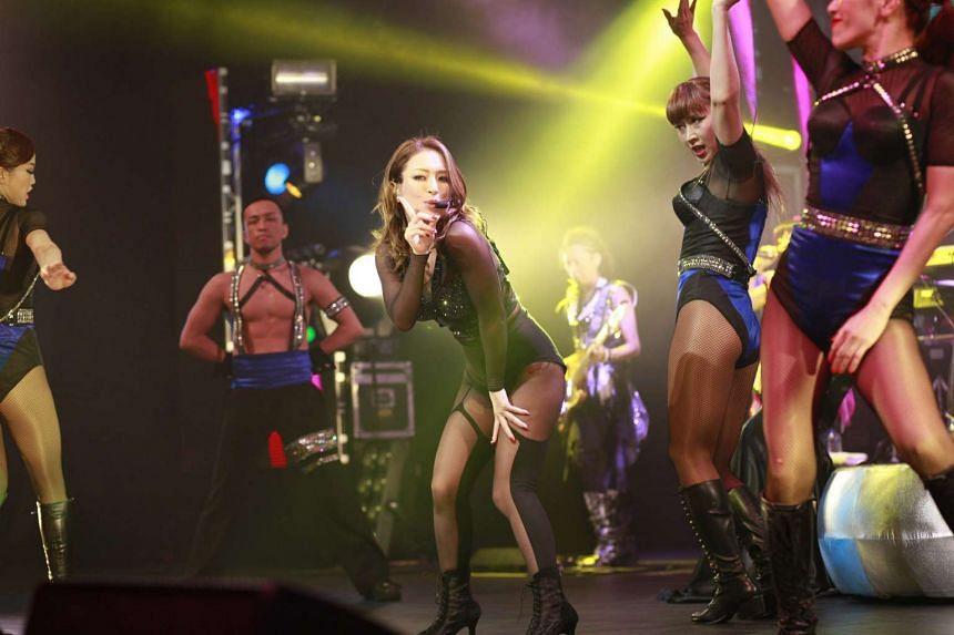 Japanese pop diva Ayumi Hamasaki performing at the A-Nation concert at Marina Bay Sands.