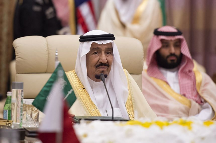 Saudi's King Salman bin Abdulaziz al-Saud attends a meeting with leaders of the Gulf Cooperation Council and the US president in Riyadh.