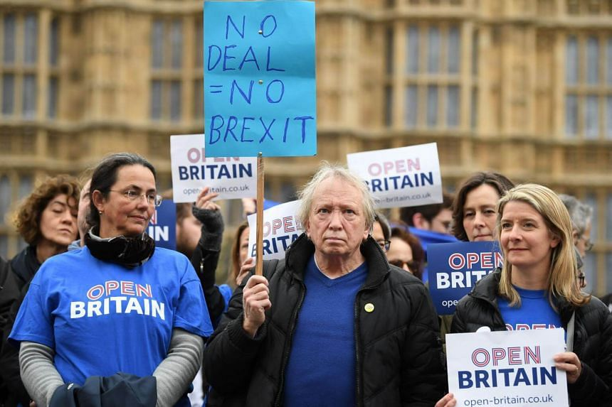 Demontrators from pro-EU group Open Britain protest outside of the Houses of Parliament in central London on March 29, 2017.
