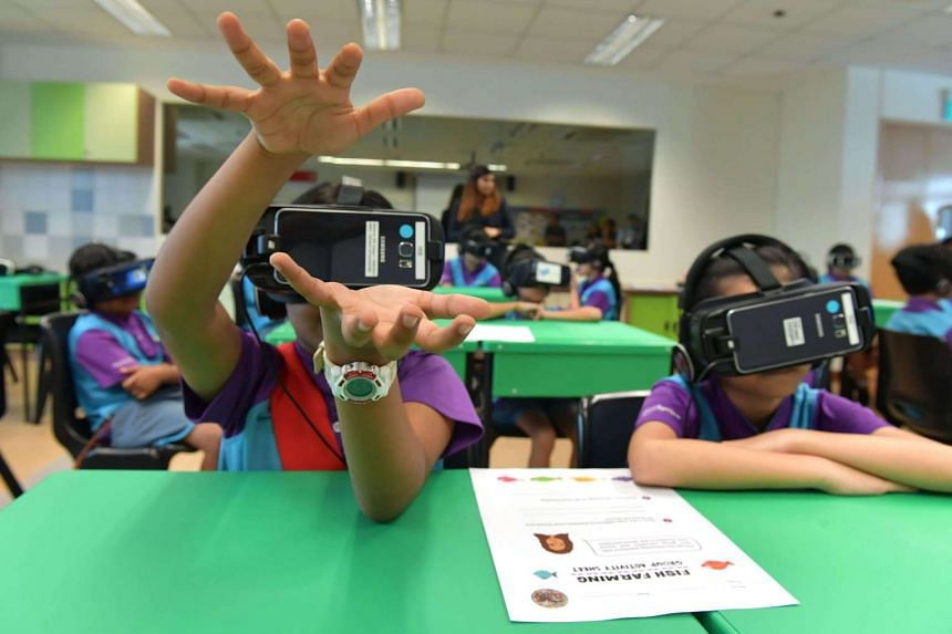 Students at West Spring Primary School using virtual reality (VR) in the classroom to enhance their learning experience for their social studies lesson for the first time.