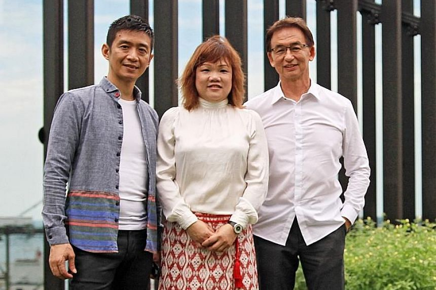Siong Leng Musical Association (from far left, artistic director Lin Shao Ling, executive director Celestina Wang and chairman Teng Hong Hai) nabs the top prize in the organisation category.