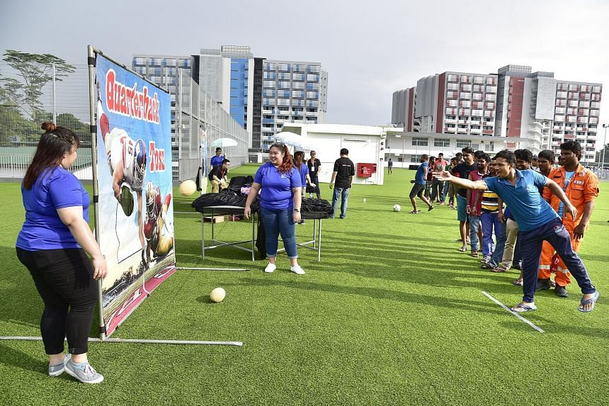 About 10,000 migrant workers played games and enjoyed performances at the May Day Migrant Workers' Celebration yesterday at Sungei Tengah Lodge, a new migrant workers' dormitory in Chua Chu Kang. The event capped the labour movement's month-long May