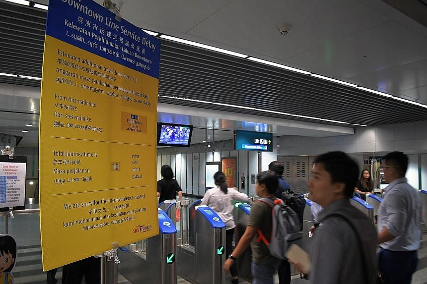 A sign at Newton MRT station on May 3, informing commuters of a delay on the Downtown Line. In the month preceding the Moovit poll, there were at least half a dozen incidents on the rail network which resulted in delays of up to 25 minutes each.