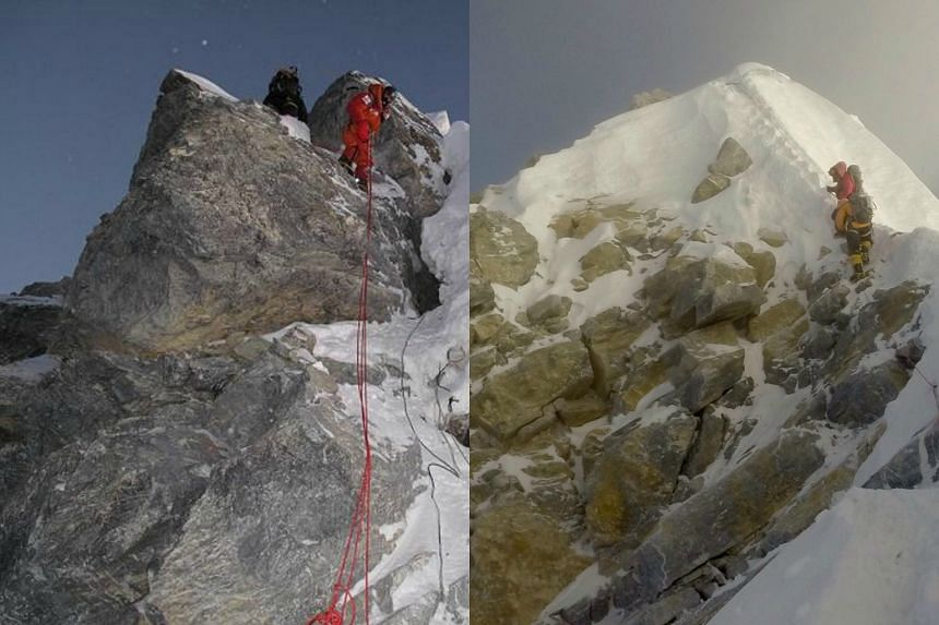 The Everest peak in 2009, with the Hillary Step still intact, and the peak in 2017.