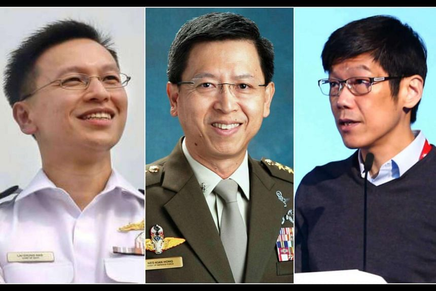Three of the four new or shuffled permanent secretaries were high-flyers in the armed forces - Rear-Adm Lai, Mr Neo Kian Hong and Mr Ng Chee Khern.