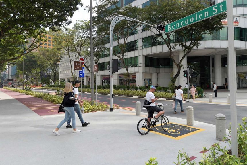 Bencoolen street, which has been modified to include a lane for cyclists and pedestrians as part of Singapore's car-light drive.