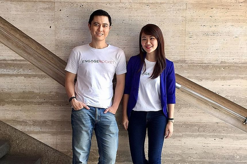 EngageRocket co-founders Leong Chee Tung and Dorothy Yiu. Mr Leong, the chief executive of the employee engagement firm, previously worked as the South-east Asia director for US-based consulting company Gallup, which often serves larger firms with mo