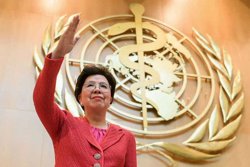 Outgoing Director General of WHO China's Margaret Chan waves after delivering her last speech on the opening day of the WHO's annual meeting, on May 22, 2017, in Geneva.