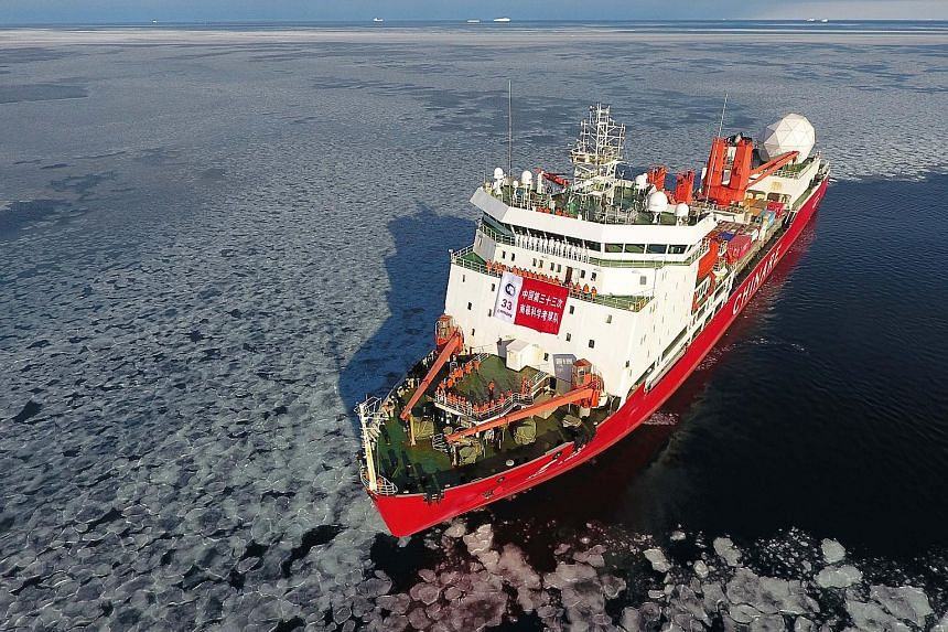 """China is building its second research and ice-breaking vessel to follow the first, Xuelong, or """"Snow Dragon"""" (above). Construction of its first airfield in Antarctica is also slated to start later this year."""