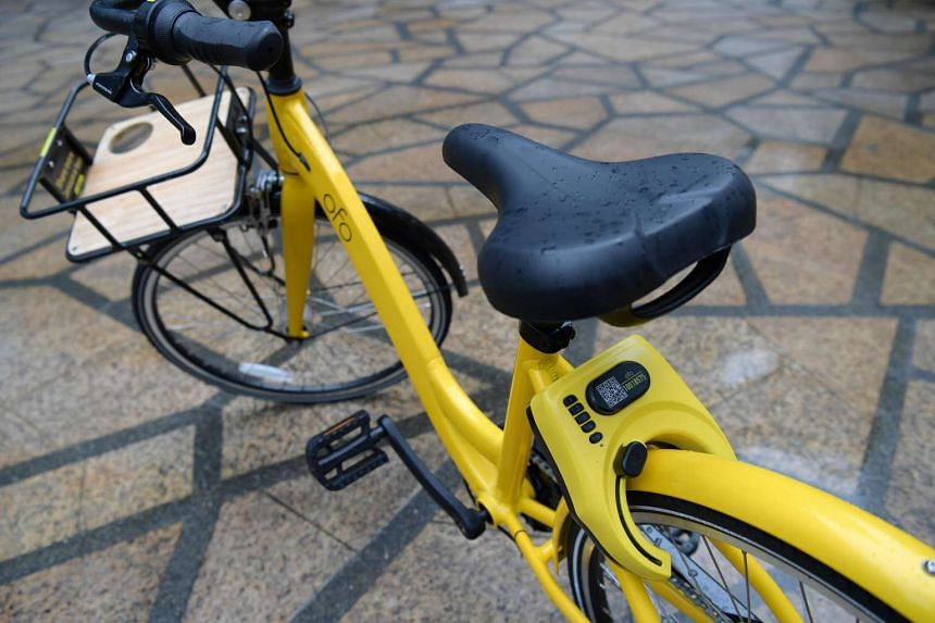 The locking mechanism on the new Ofo bicycle. Bike-sharing firms are now taking additional measures to prevent theft.