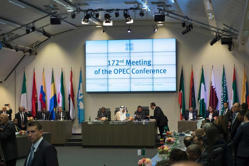 Saudi Arabia's energy minister and president of the Opec, Khalid al-Falih (centre), opens the 172nd meeting of the Opec conference at Opec headquarters in Vienna, Austria, on May 25, 2017.