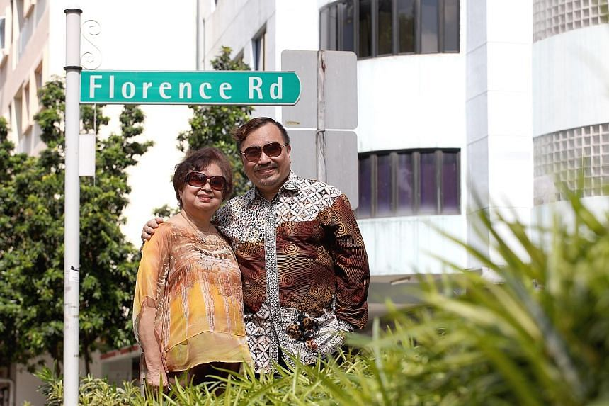 Above: Retired teacher Lilian Lim, with her son Desmond Sim, in the road named after her grandmother Florence Yeo. The late Madam Yeo was married to bee hoon king Lim Ah Pin (both below, inset), who built bungalows in the Upper Serangoon area. Below