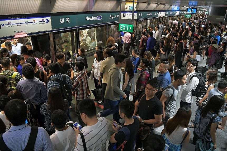 The Downtown Line was the best performer in the first quarter, hitting 1,033,000 train-km between delays, while the worst-performing line was the 30-year-old East-West Line, which clocked only 215,000 train-km between delays.