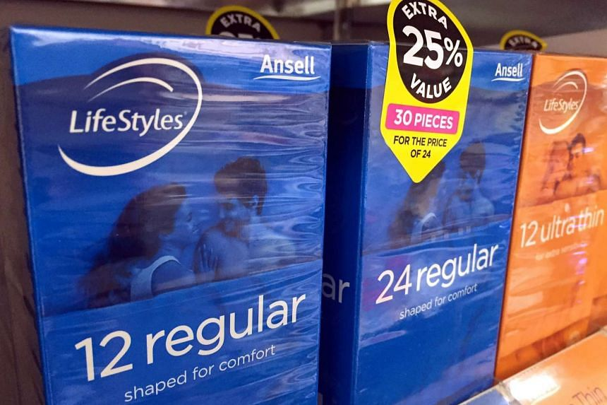 Boxes of Ansell condoms are displayed for sale at a pharmacy in Sydney.